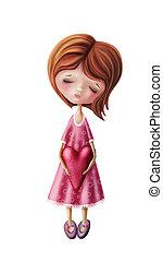 Little fairy girl with heart