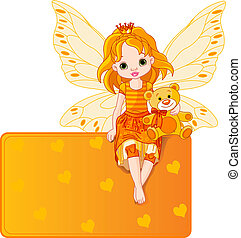 Little fairy sitting on place card