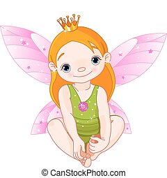 Little Fairy Princess - Cute sitting little fairy Princess...