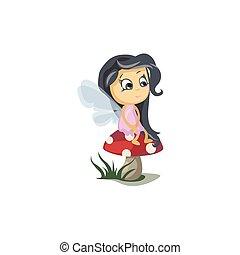 Little Fairy Sitting on a Mushroom