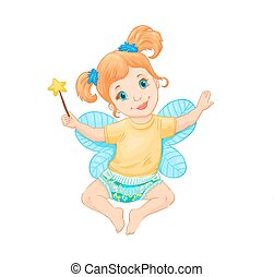 Little fairy. Vector illustration. Drawing suitable for...