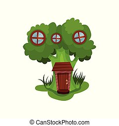 Little fantasy house in form of green broccoli with three...