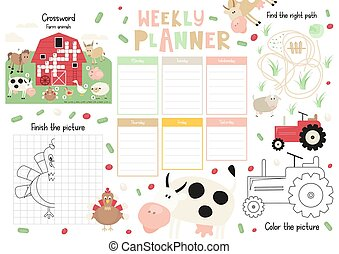 Kids Weekly Planner Template - Little Farm Kids Weekly ...