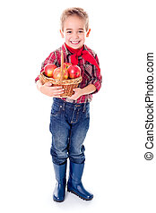 Little farmer boy with apples in basket