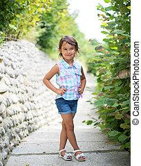 Little fashion girl smilling