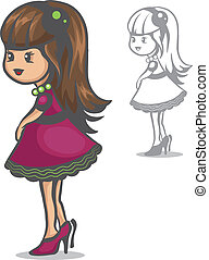 little fashionista - Vector color and black and white ...