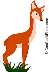 Little fawn, illustration, vector on white background.