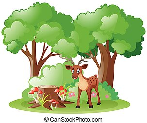 Little fawn in the forest illustration