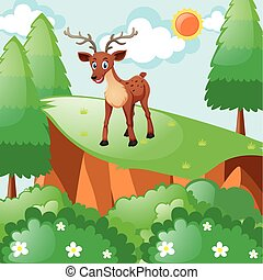 Little fawn standing on cliff illustration