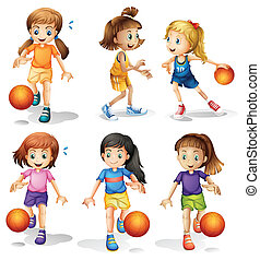 Little female basketball players - Illustration of the...
