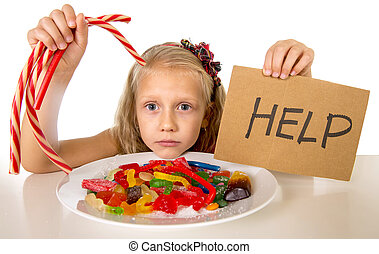little female child nutrition abuse of sweet and sugar in candy unhealthy food asking for help