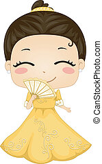 Little Filipina Girl Wearing National Costume Baro't Saya