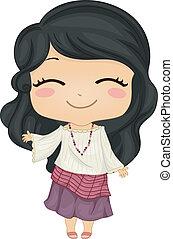 Illustration of Cute Little Filipina Girl wearing Traditional Costume Kimona