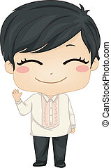 Illustration of Cute Little Filipino Boy Wearing Traditional Costume Barong Tagalog