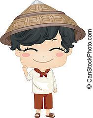 Illustration of Cute Little Filipino Boy Wearing Traditional Costume Kamisa de Chino