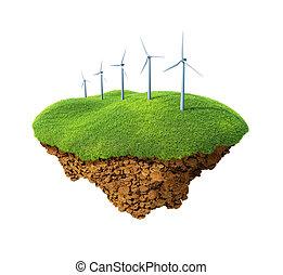 Wind power station mills - Little fine island / planet. A...