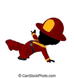 Little Firefighter Girl Illustration Silhouette - Little...