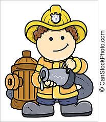 Little Fireman - Kid Vector Cartoon - Drawing Art of Cute...