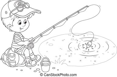 Little fisher - Black and white vector illustration of a...