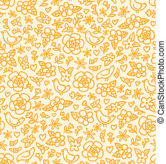 Little flowers and birds seamless pattern