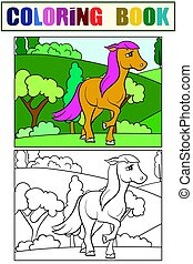 Little foal in a clearing. Set of coloring book and color picture for children.