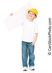 Little foreman presenting blank