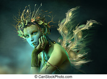 Little Forest Sylph, 3d CG - 3d computer graphics of a fairy...