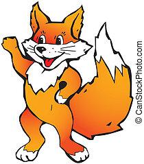 Little fox. - Happy little fox on a white background.