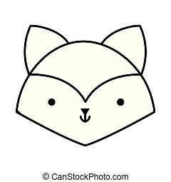 little fox head animal cartoon icon thick line