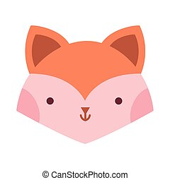 little fox head animal cartoon icon