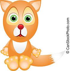 Little fox - Little cartoon  fox looking at you, vector