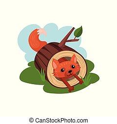 Little fox sitting inside felled tree vector Illustration on a white background