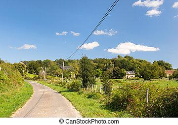 Little French lane in landscape