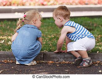 Little friends boy and girl