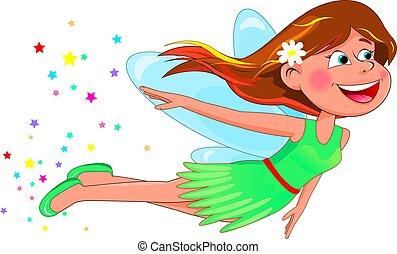 Little fun fairy in a green dress