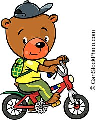 Little funny bear on bicycle