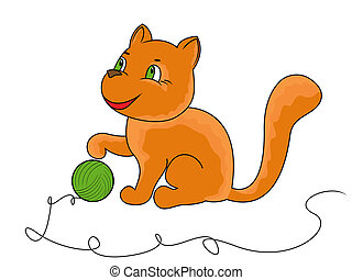 Little funny cat plays with a ball of yarn