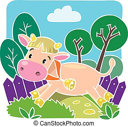 Little funny cow or calf