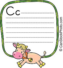Little funny cow or calf, for ABC. Alphabet C
