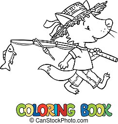 Coloring Book Of Fox In Ice House Vector Illustration Fairy