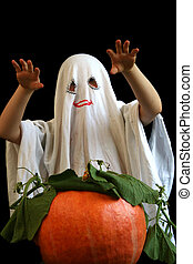 Little, funny ghost - Little ghost and pumpkin
