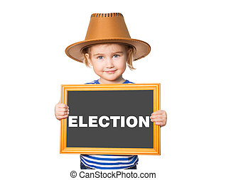 with blackboard. Text ELECTION. - Little Funny girl in ...