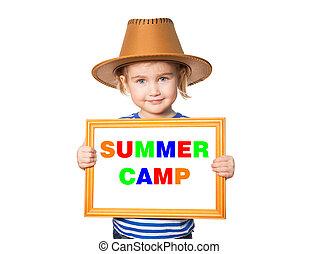 blackboard. Text summer camp. - Little Funny girl in striped...
