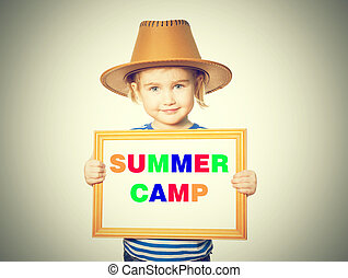 blackboard. Text summer camp.