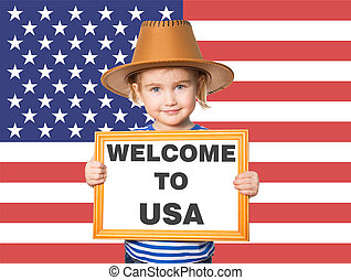 Text WELCOME TO USA.