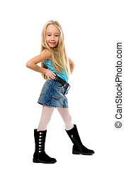 Little funny girl posing over white background