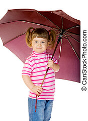 Little funny girl with umbrella