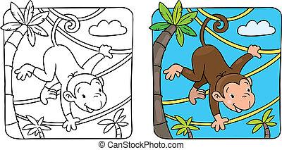 Little funny monkey on lians - Vector cartoon character of...