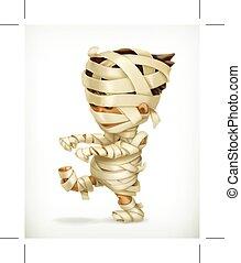 Little funny mummy, icon, isolated on white background