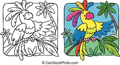 Little funny parrot coloring book